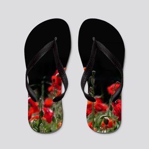 Red Poppies in bright sunlight Flip Flops