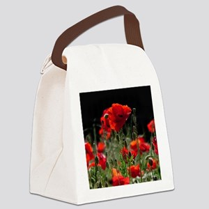 Red Poppies in bright sunlight Canvas Lunch Bag