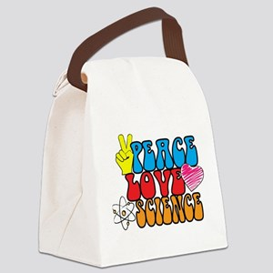Peace Love and Science Canvas Lunch Bag