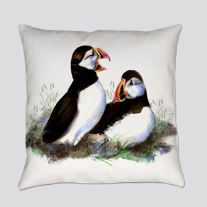 Watercolor Puffin Bird Nature art Everyday Pillow