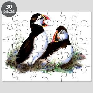 Watercolor Puffin Bird Nature art Puzzle