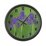 Purple Iris Large Wall Clock