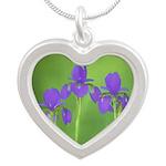 Purple Iris Silver Heart Necklace