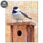 Chickadee on Birdhouse Puzzle