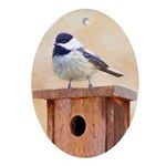 Chickadee on Birdhouse Oval Ornament