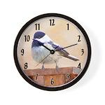 Chickadee on Birdhouse Wall Clock