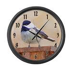 Chickadee on Birdhouse Large Wall Clock