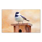 Chickadee on Birdhouse Sticker (Rectangle 50 pk)