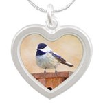 Chickadee on Birdhouse Silver Heart Necklace