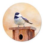 Chickadee on Birdhouse Round Car Magnet