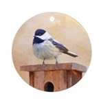 Chickadee on Birdhouse Round Ornament