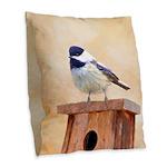 Chickadee on Birdhouse Burlap Throw Pillow