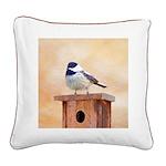 Chickadee on Birdhouse Square Canvas Pillow