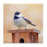 Chickadee on Birdhouse Tile Coaster