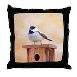 Chickadee on Birdhouse Throw Pillow