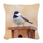Chickadee on Birdhouse Woven Throw Pillow