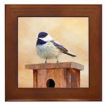 Chickadee on Birdhouse Framed Tile