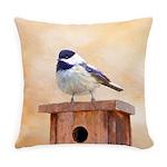 Chickadee on Birdhouse Everyday Pillow