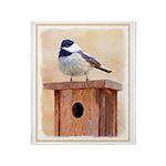 Chickadee on Birdhouse Throw Blanket
