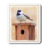 Chickadee on Birdhouse Mousepad