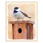 Chickadee on Birdhouse Small Poster