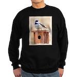 Chickadee on Birdhouse Sweatshirt (dark)