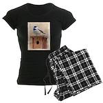 Chickadee on Birdhouse Women's Dark Pajamas