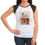 Chickadee on Birdhouse Junior's Cap Sleeve T-Shirt