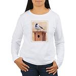 Chickadee on Birdhouse Women's Long Sleeve T-Shirt