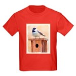 Chickadee on Birdhouse Kids Dark T-Shirt