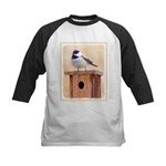 Chickadee on Birdhouse Kids Baseball Jersey