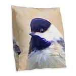 Chickadee Burlap Throw Pillow