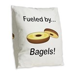 Fueled by Bagels Burlap Throw Pillow
