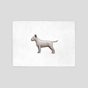 Bull terrier white 5'x7'Area Rug