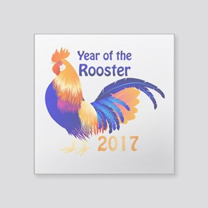 """Year of the Rooster 2017 Square Sticker 3"""" x 3"""""""