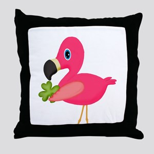 Pink Flamingo Shamrock Throw Pillow