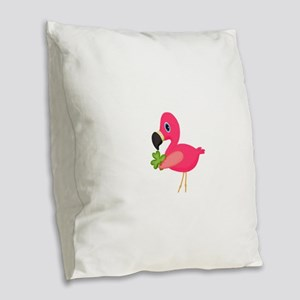 Pink Flamingo Shamrock Burlap Throw Pillow