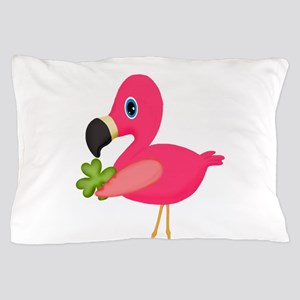 Pink Flamingo Shamrock Pillow Case