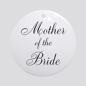 Mother of the Bride Black Script Round Ornament