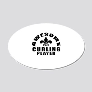 Awesome Curling Player Desig 20x12 Oval Wall Decal