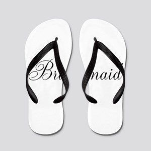 Bridesmaid Black Script Flip Flops