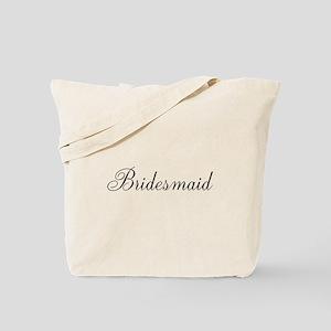 Bridesmaid Black Script Tote Bag