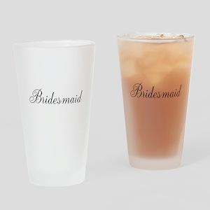 Bridesmaid Black Script Drinking Glass