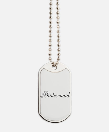Bridesmaid Black Script Dog Tags