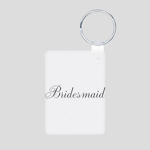 Bridesmaid Black Script Keychains