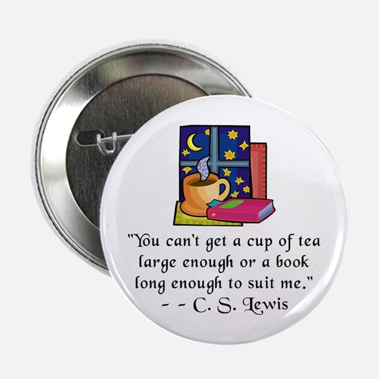 "Tea & Books w Quote 2.25"" Button"