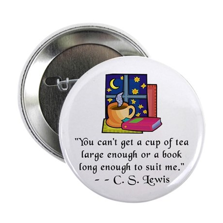 "Tea & Books w Quote 2.25"" Button (100 pack)"