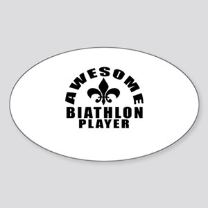 Awesome Biathlon Player Designs Sticker (Oval)