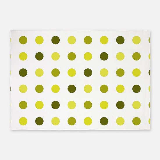 Yellow, Tricolor: Polka Dots Patter 5'x7'Area Rug