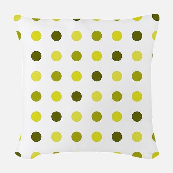 Yellow, Tricolor: Polka Dots P Woven Throw Pillow